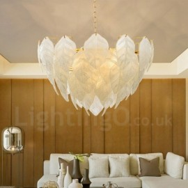 Modern / Contemporary 4 Light Steel Pendant Light with Glass Shade for Living Room, Dinning Room, Bedroom, Hotel