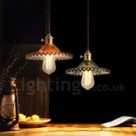 Rustic / Lodge,Retro 1 Light Steel Pendant Light with Glass Shade for Corridor, Living Room, Dinning Room, Courtyard, Study