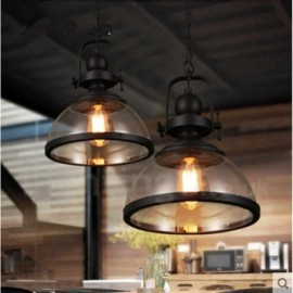 Retro 1 Light Steel Pendant Light with Glass Shade for Bathroom, Living Room, Kitchen, Bedroom, Hotel, Corridor, Dinning Room, Courtyard