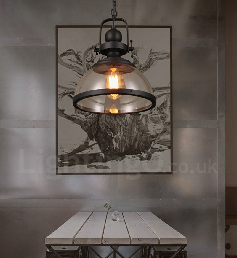 Retro 1 Light Steel Pendant Light with Glass Shade for ...