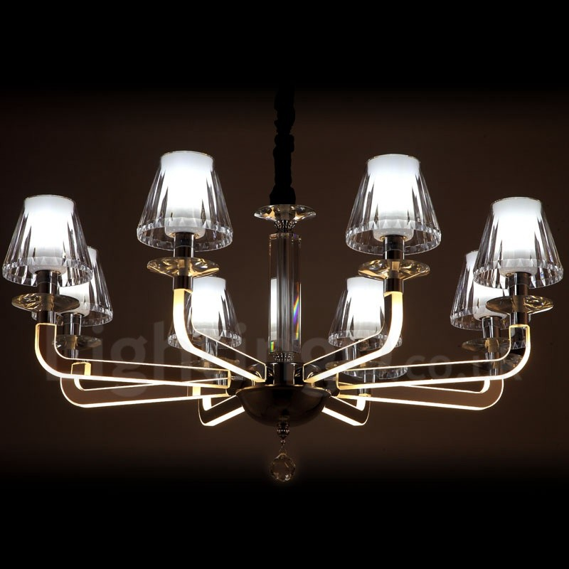 Dimmable modern contemporary 8 light crystal chandelier with glass dimmable modern contemporary 8 light crystal chandelier with glass shade for living room dinning aloadofball Choice Image