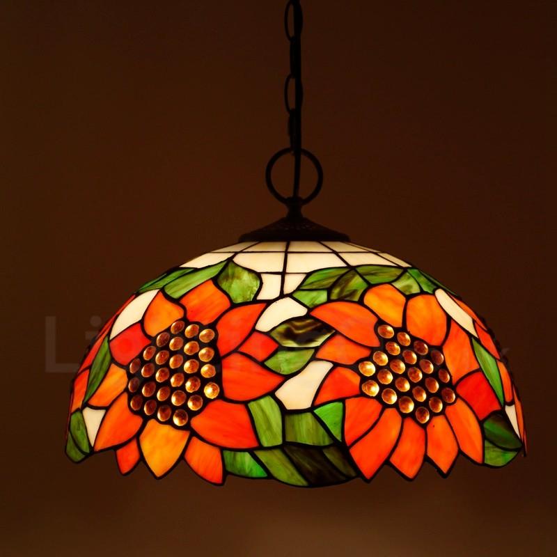 sunflower pattern 16 inch classic handmade tiffany pendant light