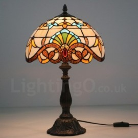 Hot sale 12 inch European Retro Tiffany Table Lamp Baroque Lamp Shade Living Room Dinning Room Bedroom Study Bar Cafes 1 Lamp