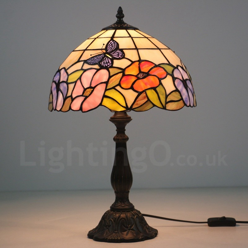 12 Inch Handmade Tiffany Table Lamp Rose Butterfly Pattern European Retro Style  Living Room Bedroom Study ...