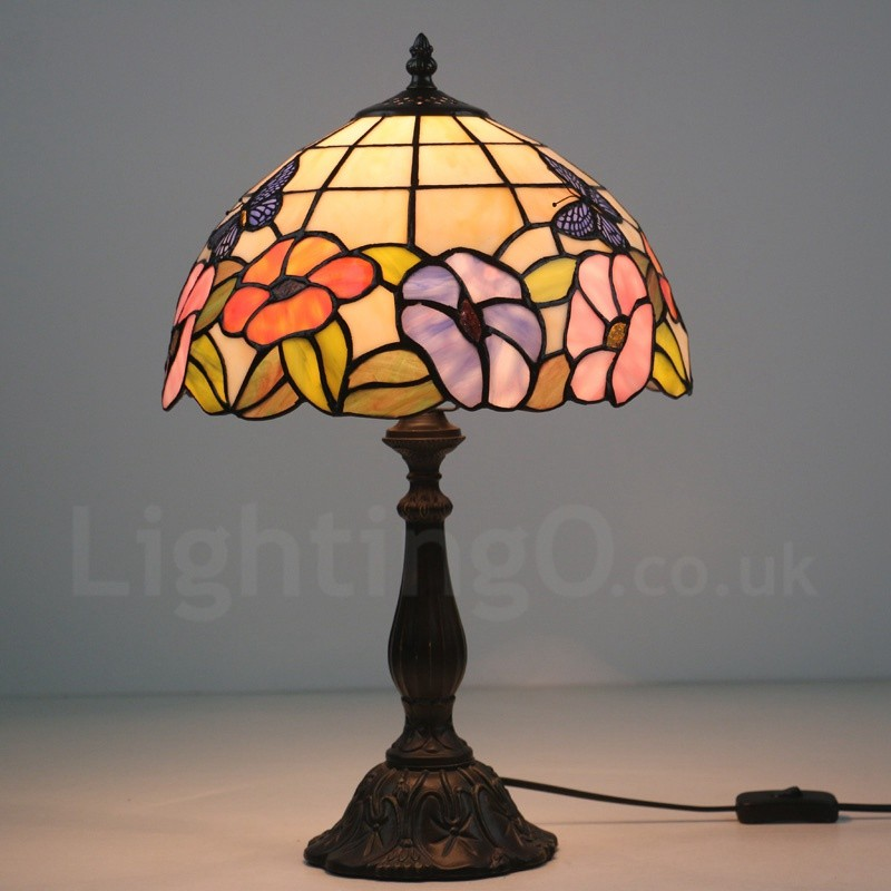 12 inch handmade tiffany table lamp rose butterfly pattern european 12 inch handmade tiffany table lamp rose butterfly pattern european retro style living room bedroom study mozeypictures Images