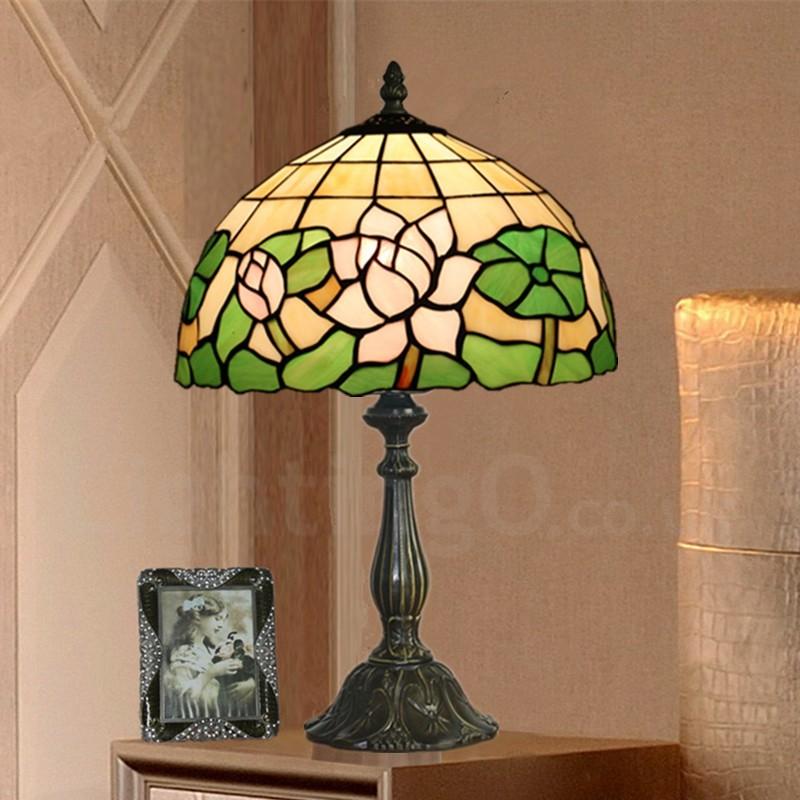 12 Inch European Retro Handmade Tiffany Table Lamp Pink Lotus Flower