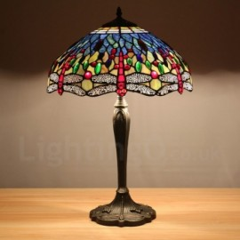 Bestseller Dragonfly Coloured Gemstone Pattern 12 inch Handmade Tiffany Table Lamp European Retro Living Room Bedroom Study Room 1 Lamp