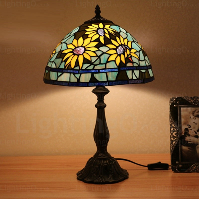 Sunflower Pattern 12 Inch Traditional Handmade Tiffany