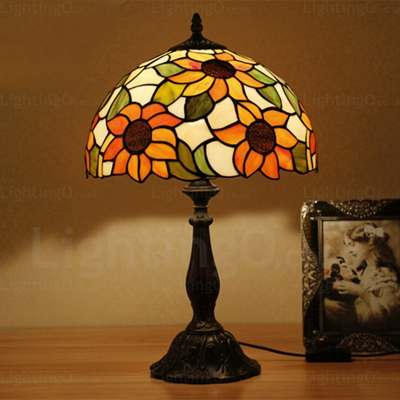 Sunflower Lamp Shade Traditional 12 Inch Tiffany Desk Lamp