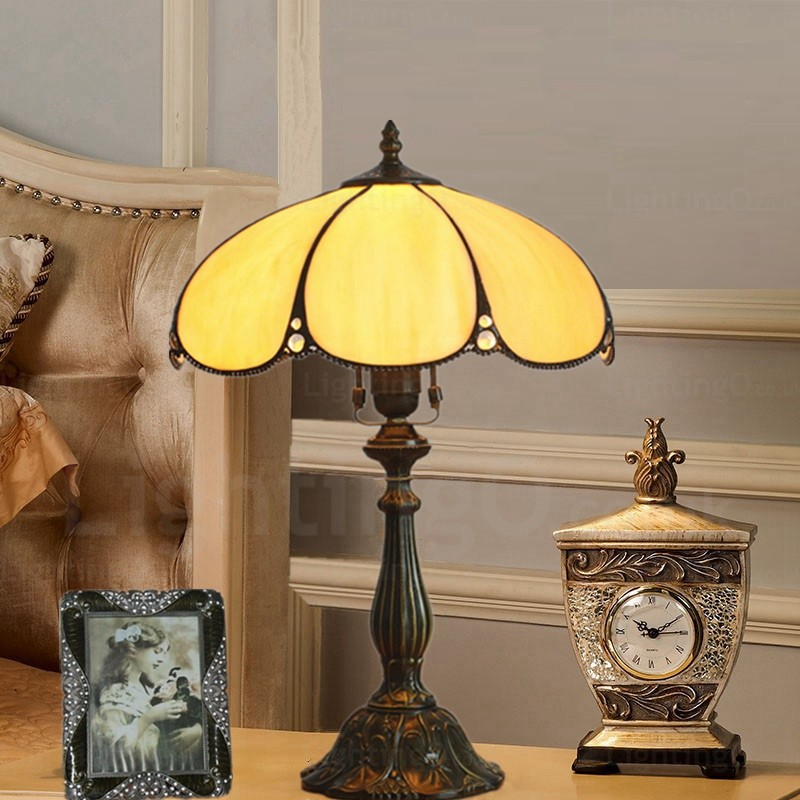 Flying saucer lamp shade traditional 12 inch tiffany desk - Traditional table lamps for bedroom ...