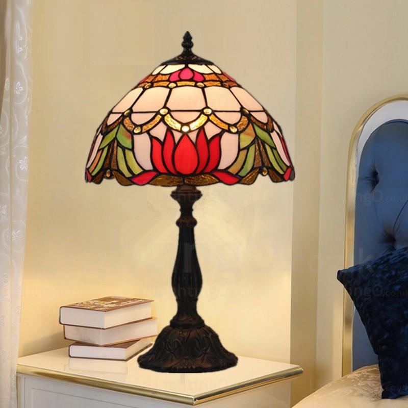 Lotus Flower Design Retro 12 Inch Tiffany Desk Lamp Living Room