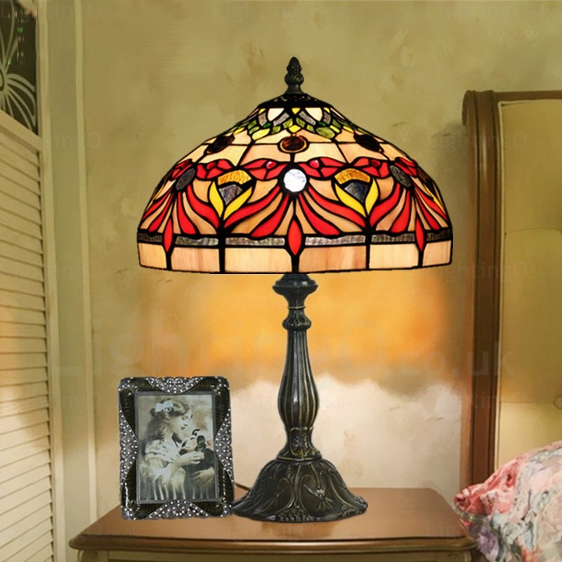12 Inch Retro Handmade Tiffany Desk Lamp Lotus Flower Lamp Shade