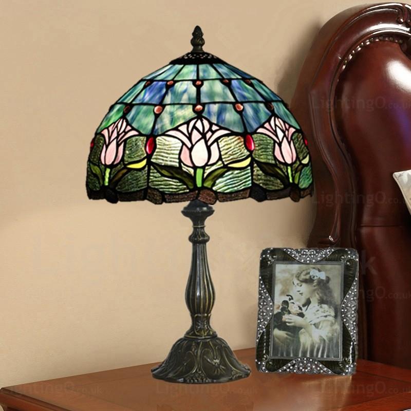Retro Lotus Flower Lamp Shade 12 Inch Tiffany Desk Lamp Living Room