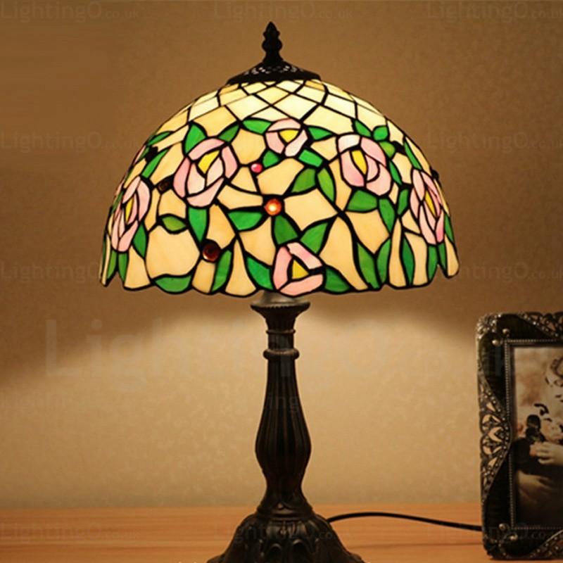 Rose Lamp Shade Retro 12 Inch Tiffany Desk Lamp Living