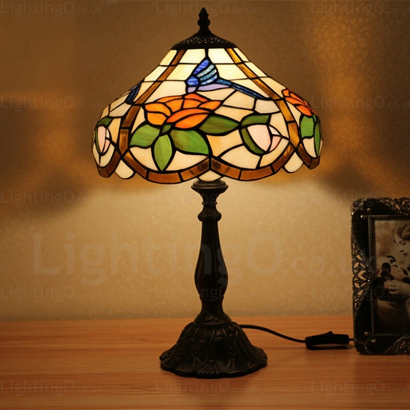 Living Room Lamp Shades: Rose Lamp Shade Retro 12 Inch Tiffany Desk Lamp Living