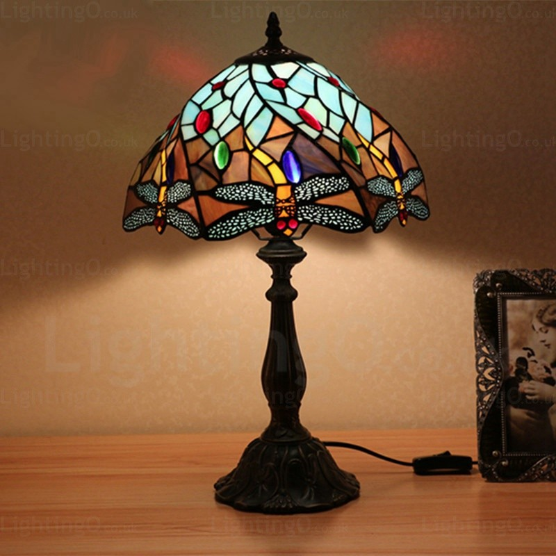 Dragonfly 12 Inch Handmade Tiffany Table Lamp Living Room Bedroom Study Room  ...