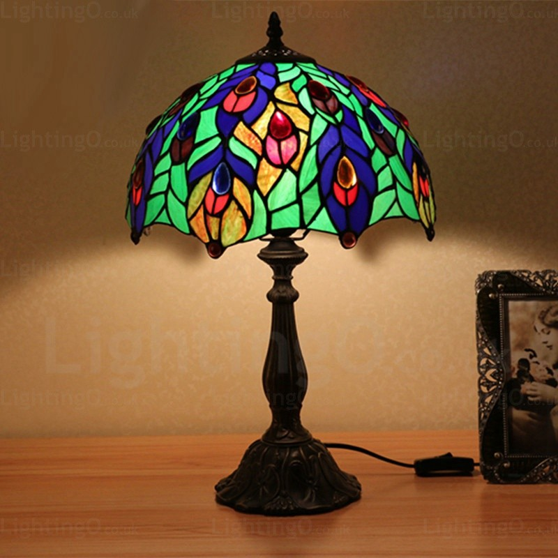 Phoenix Tail Gemstone 12 Inch Handmade Tiffany Table Lamp