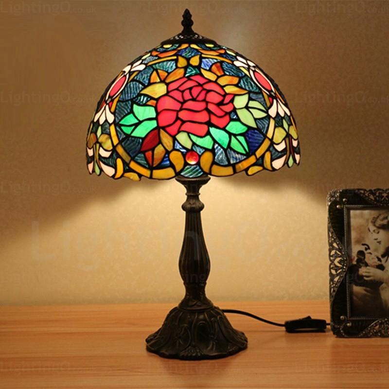 Baroque Flower Pattern 12 Inch Handmade Tiffany Table Lamp
