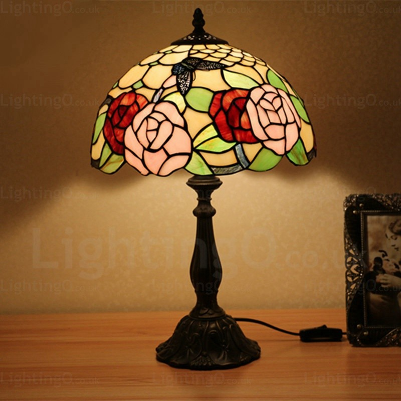 Rose Flower Lamp Shade Exquisite 12 Inch Handmade Tiffany