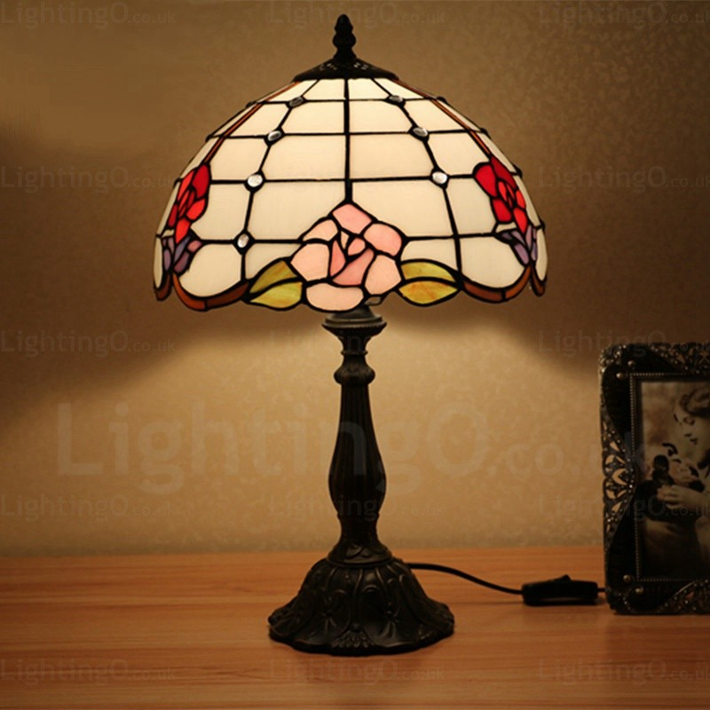 Rose Flower Design Luxury 12 Inch Tiffany Table Lamp