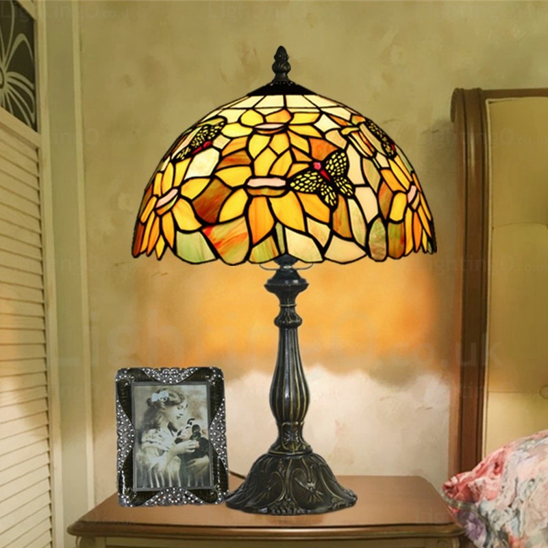 Sunflower Lamp Shade 12 Inch Handmade Tiffany Table Lamp Living Room Bedroom Study Room