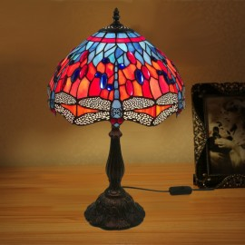 Dragonfly Design 12 inch Handmade Tiffany Desk Lamp Living Room Bedroom Study Room