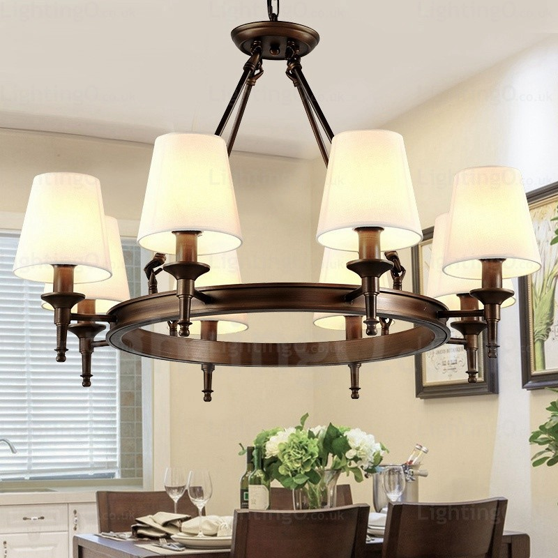8 Light Nordic Country Rustic Pendant Lights With Fabric Shade For Living Room Bedroom Dining