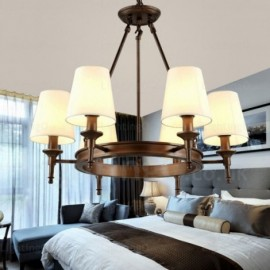 6 Light Nordic, Country/Rustic Pendant Lights with Fabric Shade for Living Room, Bedroom, Dining Room