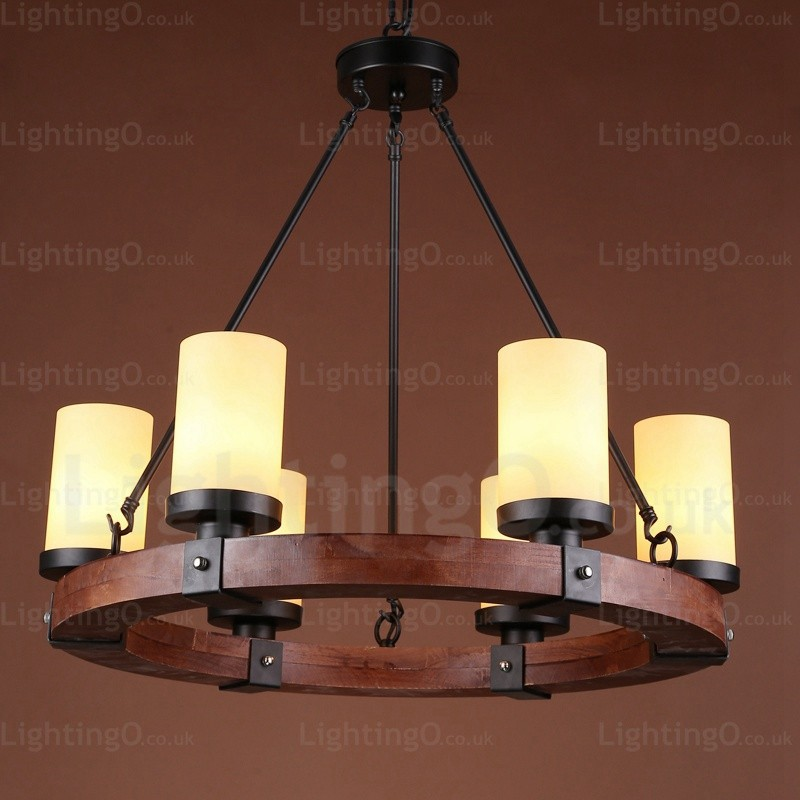 6 Light Country/Rustic Pendant Lights With Glass Shade For