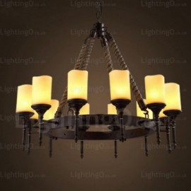 12 Light Country/Rustic, Vintage/Retro Pendant Lights with Glass Shade for Living Room, Bedroom, Dining Room, Cafes, Bar