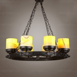 8 Light Country/Rustic, Vintage/Retro Pendant Lights with Glass Shade for Hallway, Living Room, Dining Room, Corridor, Bedroom, Hotel