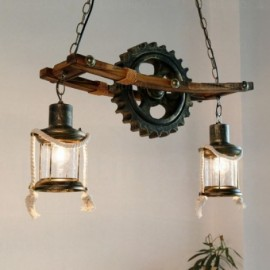 2 Light Country/Rustic, Vintage/Retro Pendant Lights with Glass Shade for Hallway, Dining Room, Corridor, Bedroom, Balcony