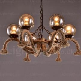 6 Light Vintage/Retro Pendant Lights with Glass Shade for Hallway, Living Room, Dining Room, Storeroom, Corridor, Bedroom, Balcony, Hotel