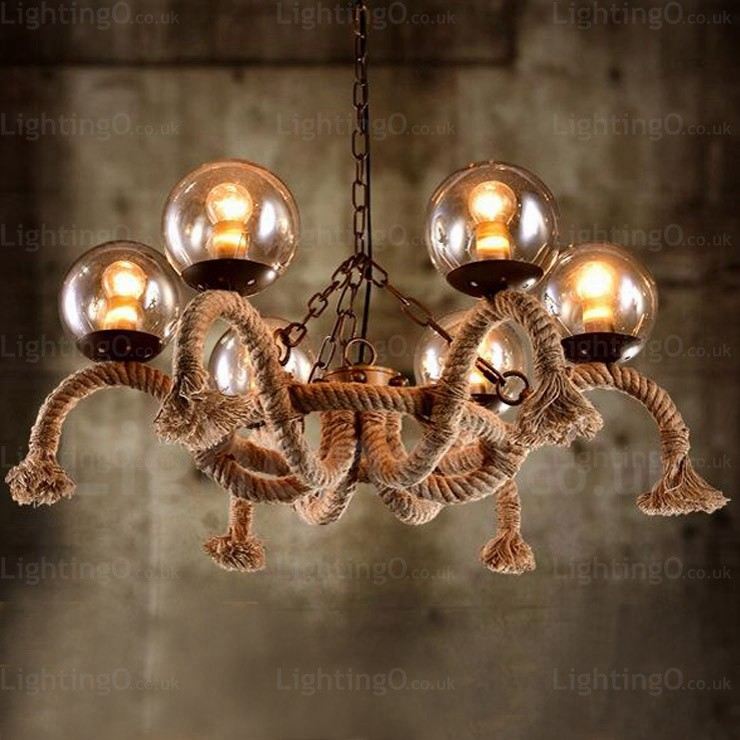 6 Light Vintage Retro Pendant Lights With Glass Shade For