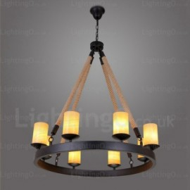 8 Light Vintage/Retro Pendant Lights with Marble Shade for Living Room, Bedroom, Dining Room, Cafes, Bar
