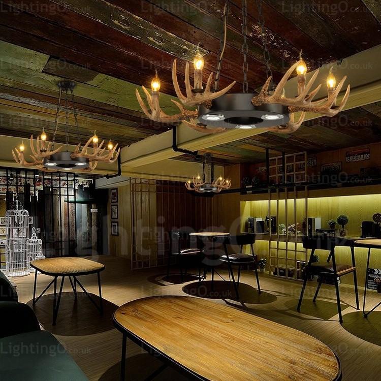 9 Light VintageRetro Rustic Antler Chandelier Pendant Lights for Living Room Dining Room Cafes, Bar, Bedroom