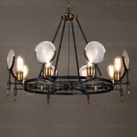 6 Light Vintage/Retro Pendant Lights with Glass Shade for Dining Room, Bar, Shops, Hotel, Farm, Villa