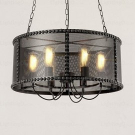 6 Light Vintage/Retro Pendant Lights with Stainless Steel Shade for Living Room, Dining Room, Bedroom, Cafes, Bar