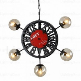 5 Light Vintage/Retro Pendant Lights with Glass Shade for Living Room, Dining Room, Bedroom, Cafes, Bar, Balcony, Hallway