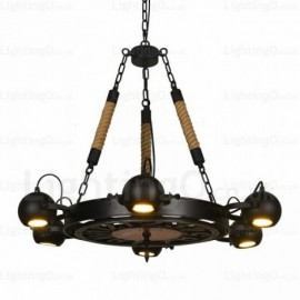 6 Light Vintage/Retro Pendant Lights with Stainless Steel Shade for Living Room, Bedroom, Bar, Dining Room, Cafes