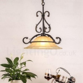 1 Light Country/Rustic Pendant Lights with Glass Shade for Hallway, Dining Room, Corridor, Bedroom, Balcony