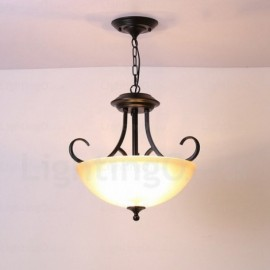 3 Light Country/Rustic Pendant Lights with Glass Shade for Hallway, Dining Room, Corridor, Kitchen, Balcony