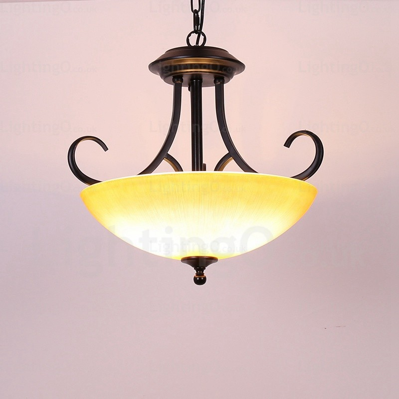 3 light country/rustic pendant lights with glass shade for