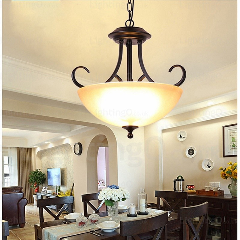 3 Light Country Rustic Pendant Lights With Glass Shade For