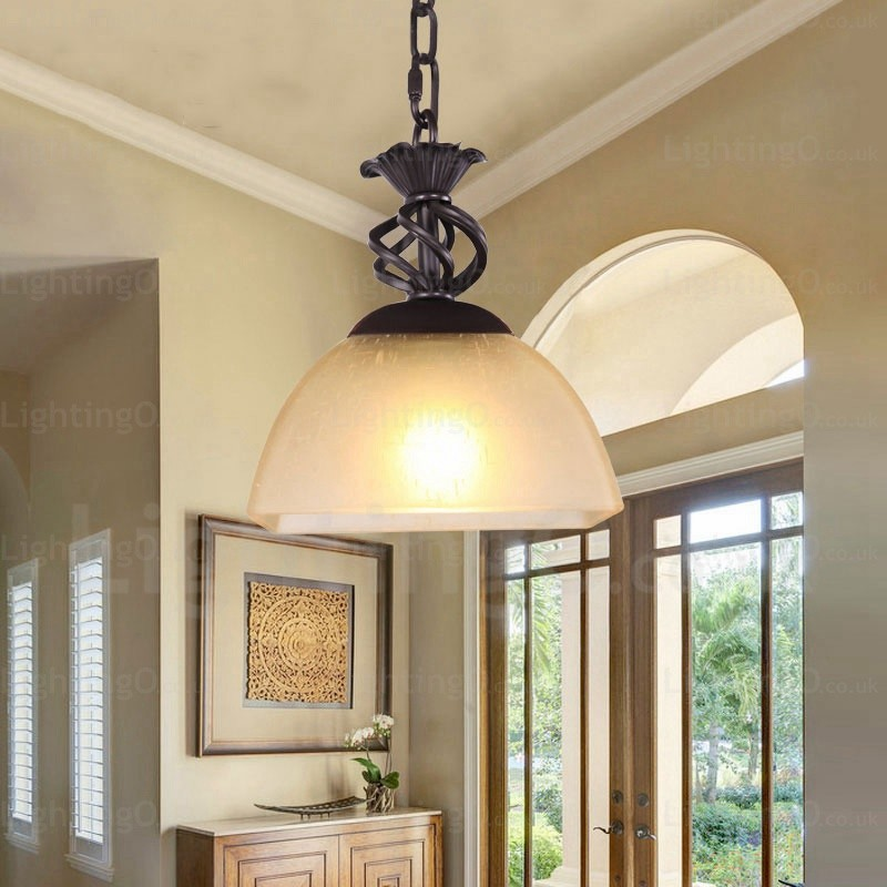 1 Light Country Rustic Pendant Lights With Glass Shade For