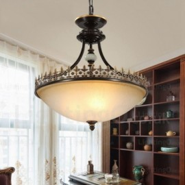3 Light Country/Rustic Pendant Lights with Glass Shade for Dining Room, Corridor, Bedroom, Hotel