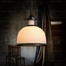 1 Light Country/Rustic Pendant Lights with Glass Shade for Living Room, Dining Room, Bedroom