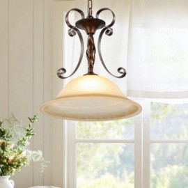 1 Light Country/Rustic Pendant Lights with Glass Shade for Hallway, Hallway, Tearoom