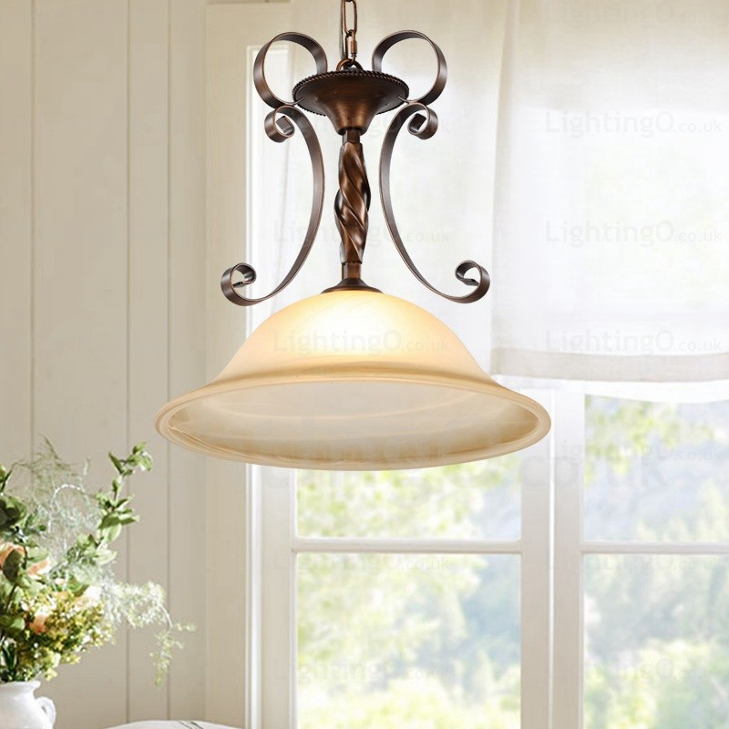 1 Light Country Rustic Pendant Lights With Glass Shade For Hallway Tearoom