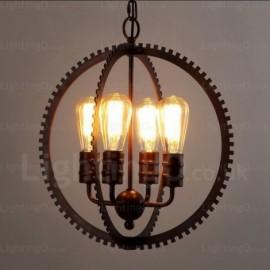 4 Light Vintage/Retro Pendant Lights for Living Room, Bedroom, Dining Room